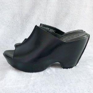 Ariat Black Leather Platform Wedge Slide Sandals 7